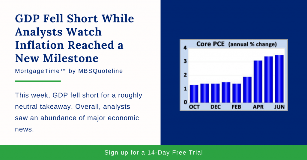 GDP Fell Short While Analysts Watch Inflation Reached a New Milestone mortgagetime mbsquoteline chart
